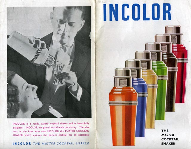 Cocktail shaker leaflet cover: on the front six cocktail shakers in different colours, on the back a man in white tie pouring a cocktail for a lady.