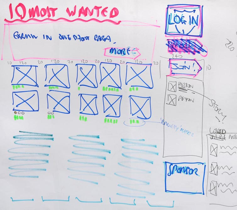 Whiteboard sketch of website homepage